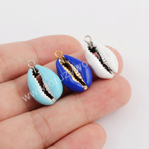 Gold/Silver Plated Rainbow Cowrie Shell Pendant WX1074