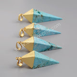 Gold Plated Pyramid  Point Howlite Turquoise Faceted Pendant Bead G1005