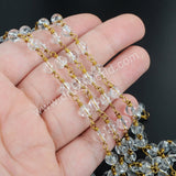 5m/lot,Gold Plated 6mm Round Natural Clear Quartz Beads Wire Wrapped Rosary Chain JT121