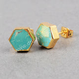 Gold Plated Hexagon Natural Turquoise Stud Earrings G0611
