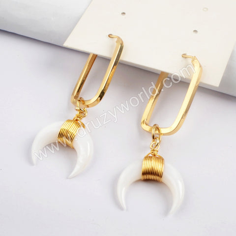 Gold Plated White Shell Rectangle Earring G1591