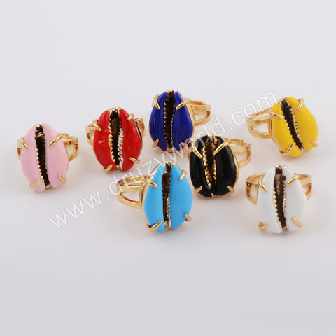 Gold Plated Claw Rainbow Cowrie Shell Ring ZG0419