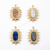 CZ Micro Pave Crystal Man-made Druzy Gold Pendant WX887