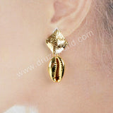 Full Gold Plated Cowrie Shell Diamond Stud G1593