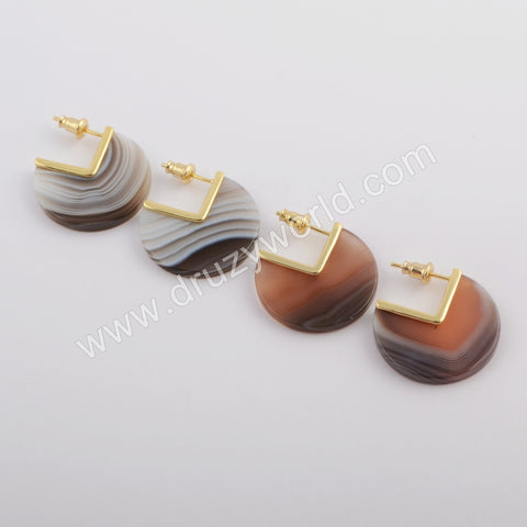 Gold Plated Natural Onyx Agate Stud Earrings ZG0420