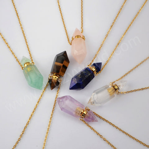 Fluorite Quartz Perfume Bottle Connector Gold Plated Necklace G1942-N