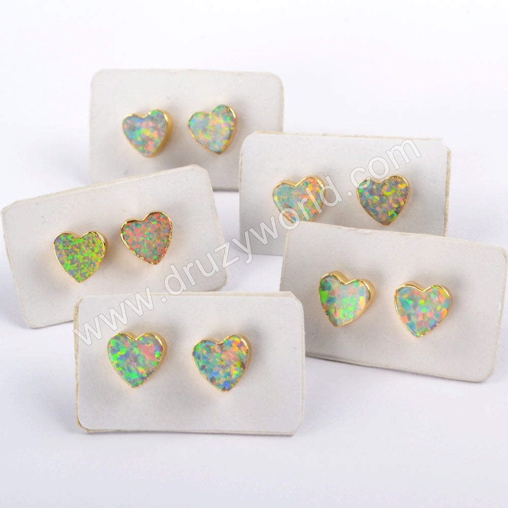 Gold Plated White Opal Heart Earrings Stud G1631
