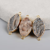 Gold Plated Marquise Titanium AB Galaxy Quartz Connector G1216