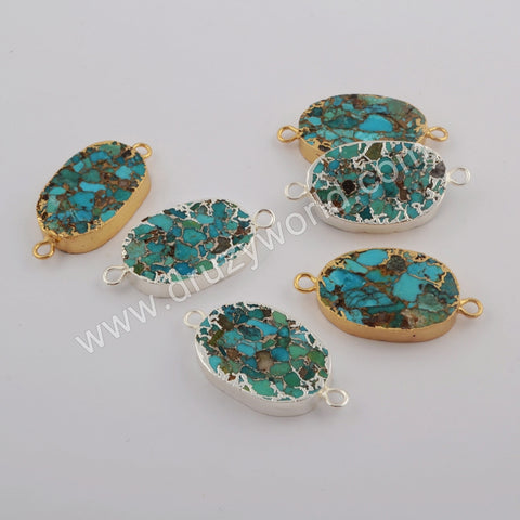 Gold Plated Natural Copper Turquoise Connector G1750/S1750