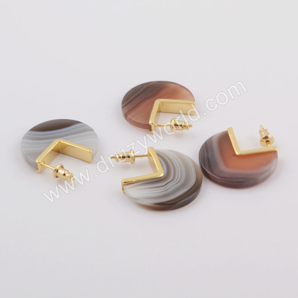 Natural Onyx Agate Stud Earrings Fashion Earrings Gold Plated ZG0420