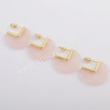 Gold Plated Natural Rose Quartz Stud Earrings ZG0421