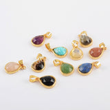 Natural Multi-kind Stones Metal Pendant Charm Gold Plated WX1294