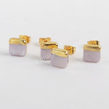 7mm Natural White Shell Stud Earrings Gold Plated G1363