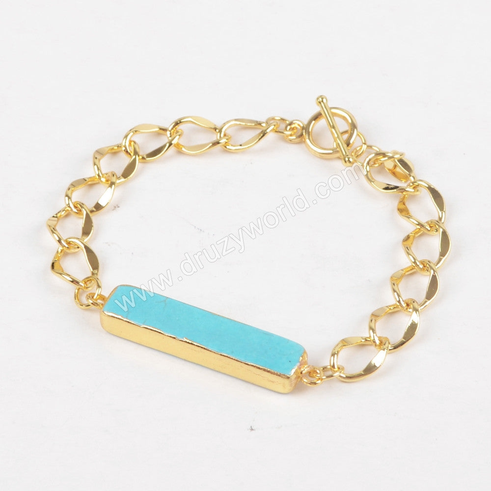 Rectangle Gold Plated Blue Howlite Turquoise Bracelet Bangle G1268