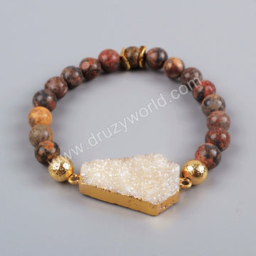 Gold Plated Long Hexagon Titanium AB Druzy Bracelet Leopard Skin Jasper Beads G1196