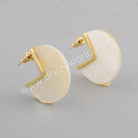 Gold Plated Natural White Shell Stud Earrings ZG0422
