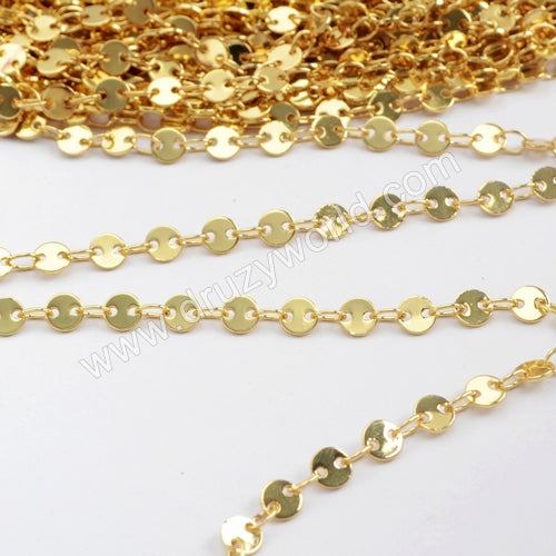 4mm Gold Plated Brass Coin Slice Chain PJ118-G
