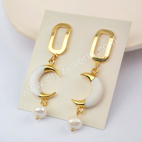 Natural Pearl White Shell Earrings Gold Plated HD0186