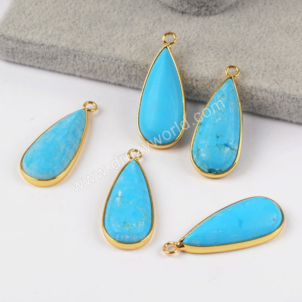 Gold Plated Long Teardrop Blue Howlite Turquoise Charm G1409