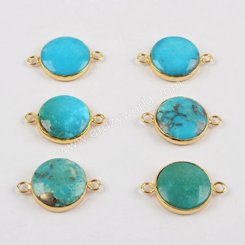 15mm Round Gold Plated Natural Turquoise Connector Double Bails ZG0170