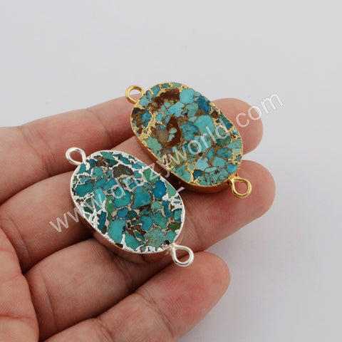 Natural Copper Turquoise Connector Fashion Jewelry Silver Plated S1750