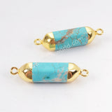 Gold Plated Blue Howlite Turquoise Terminated Point Connector G1313