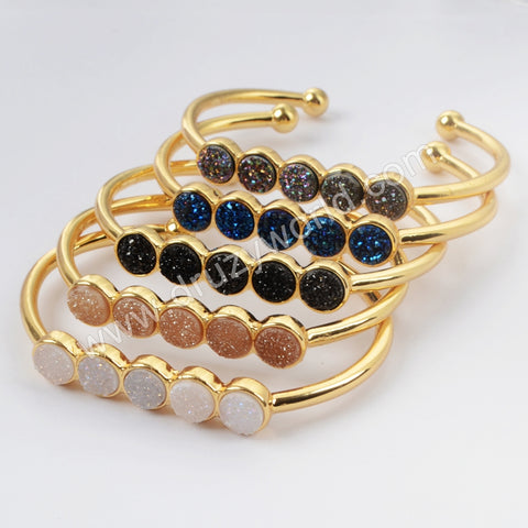 Gold Plated Five Round Natural Agate Titanium Rainbow Druzy Bangle ZG0423