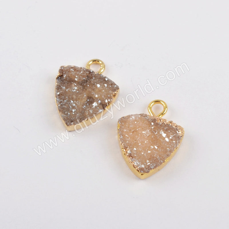 12mm Champagne Triangle Druzy Charm CL269