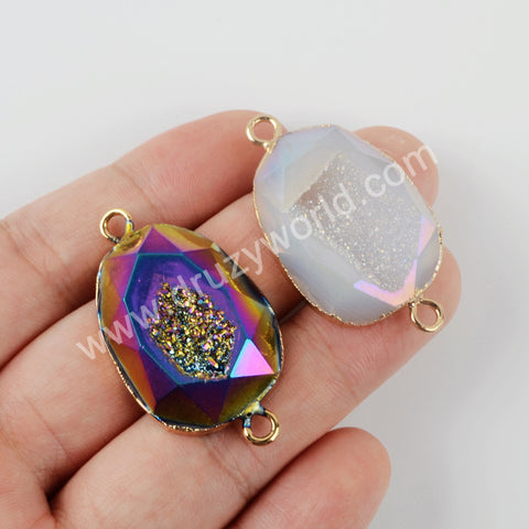 Natural Agate Titanium Druzy Connector Fashion Jewelry Gold Plated G1949
