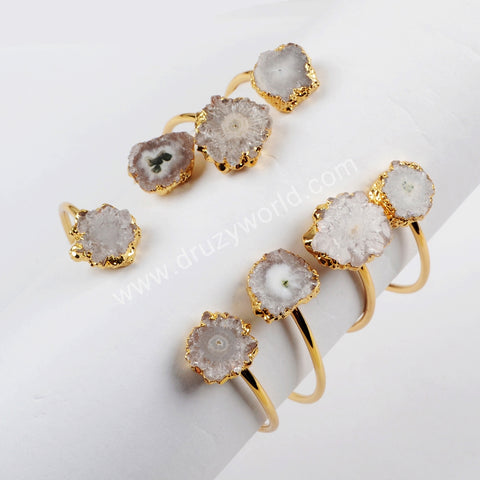 Gold/Silver Plated Small Double Natural Solar Quartz Adjustable Bangle G1533/S1533