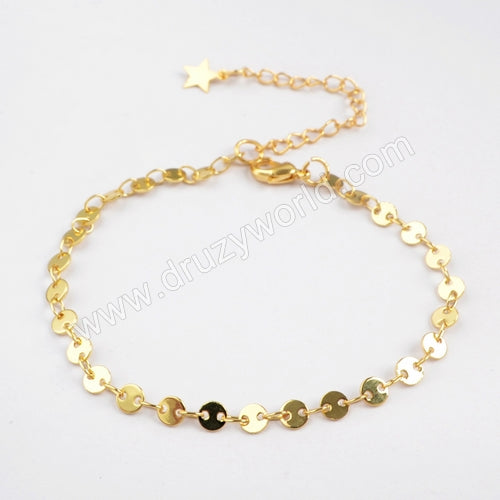 "7"" Gold Plated Brass 4mm Coin Slice Chain Bracelet PJ120-G"
