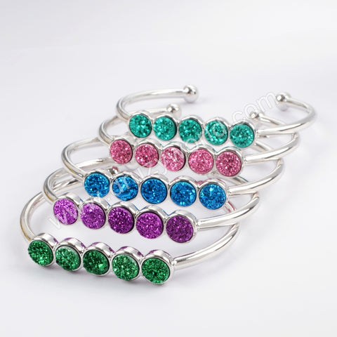 Silver Plated Five Round Natural Agate Titanium Rainbow Druzy Bangle ZS0424