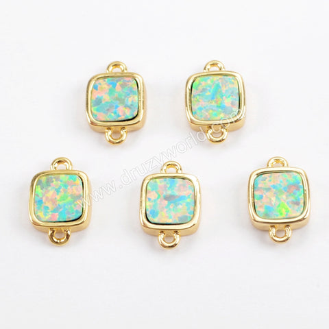 Square Gold Plated Blue Opal Bezel Connector Double Bails ZG0267
