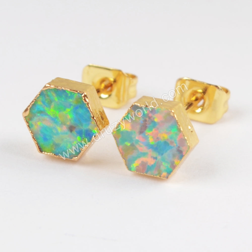 Gold Plated Hexagon White Opal Studs G1422