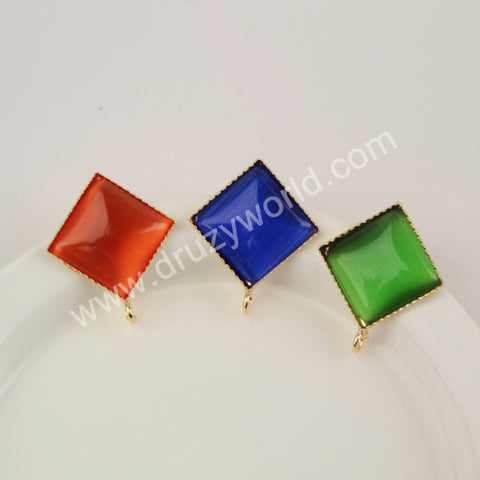 Natural Multi-kind Stones Rhombus Fashion Stud Earrings WX1389