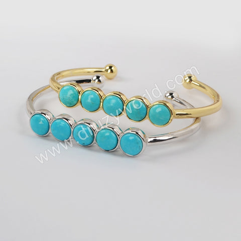 Five Round Silver Plated Bezel Natural Turquoise Bangle ZG0427