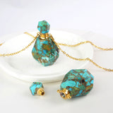 Natural Gold Crack Turquoise Perfume Bottle Necklace PB001-N