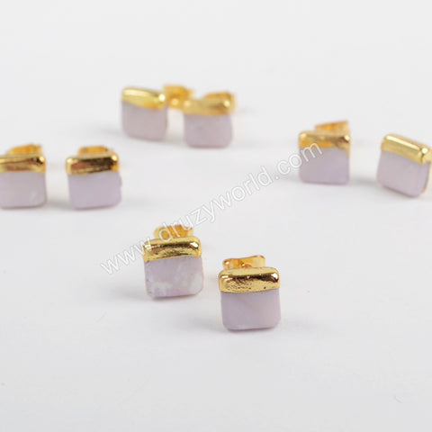 Gold Plated 7mm Square Natural White Shell Stud Earrings G1363