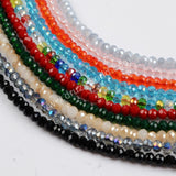 3mm Bead Rhinestone Pave Natural Pearl Bead Tassel Necklace JAB803