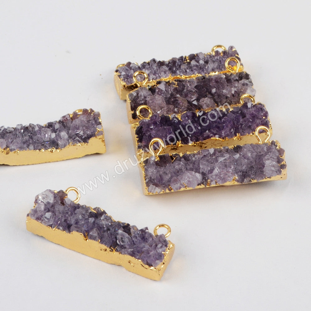 Gold Plated Rectangle Natural Amethyst Connector G1261/S1261