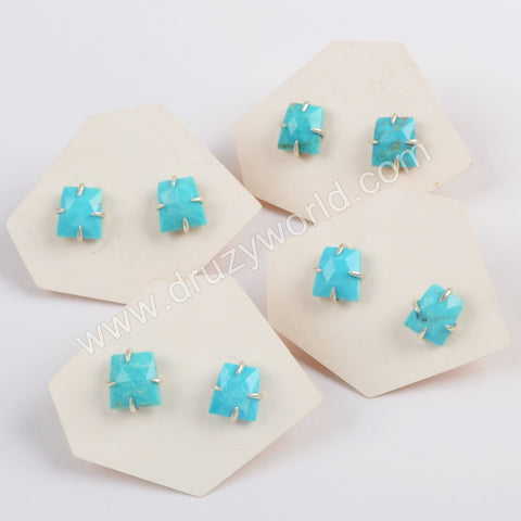 S925 Silver Plated Claw Natural Turquoise Faceted Stud Earrings SS200