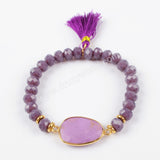 Gold Plated Multi-stone With 8mm Faceted Beads & Tassel Bracelet Bangle G1503