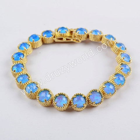 Gold Plated Round Twenty-Stone Opal Faceted Bracelet ZG0341-1