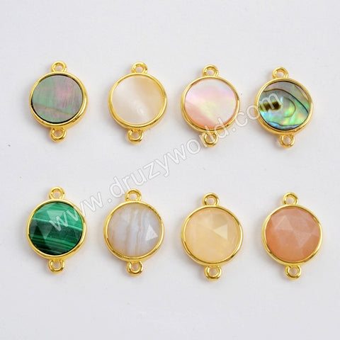 Round Multi-kind Stone Gold Bezel Connector WX985