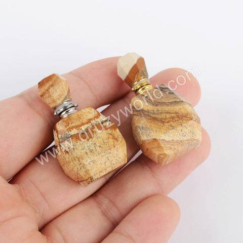 Gold/Silver Natural Picture Stone Perfume Bottle Connector WX1202