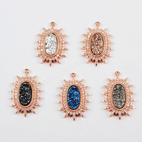CZ Micro Pave Crystal Man-made Druzy Rose Gold Pendant WX888