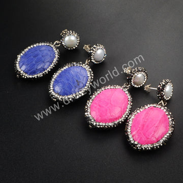 Round Pearl & Oval Wraped Multi-Color Snake Skin Stud Earrings Paved Zircon JA358