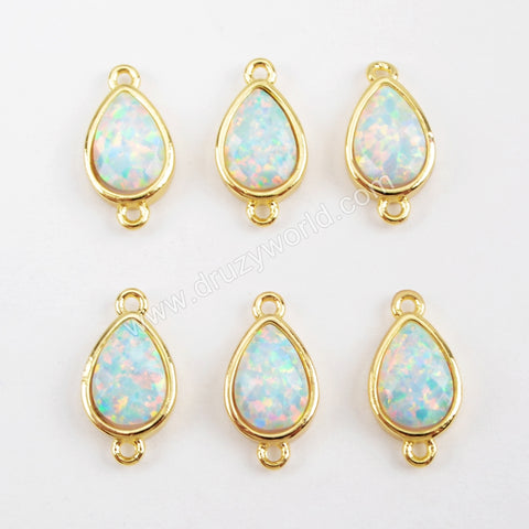 Teardrop Gold Plated Bezel White Opal Faceted Connector ZG0307