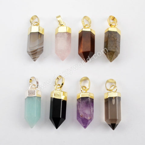 Crystal Point Multi-kind Stone Facted Pendant WX906