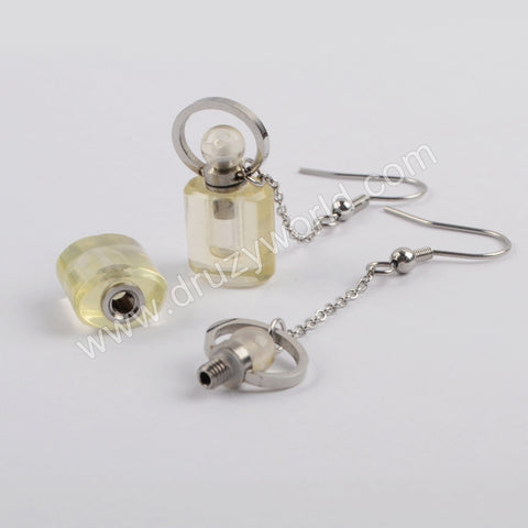 Silver Natural Stone Perfume Bottle  Earrings WX1191